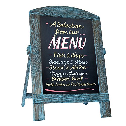 Standing Vintage Small Framed Tabletop Kitchen Chalkboard,Mini Kitchen Easel-Style Dry Erase Chalk Board Sign for Rustic Wedding Decor (Blue, 14x9)
