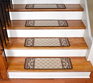 Amazon Com Carpet Stair Treads Caramel Scroll Border