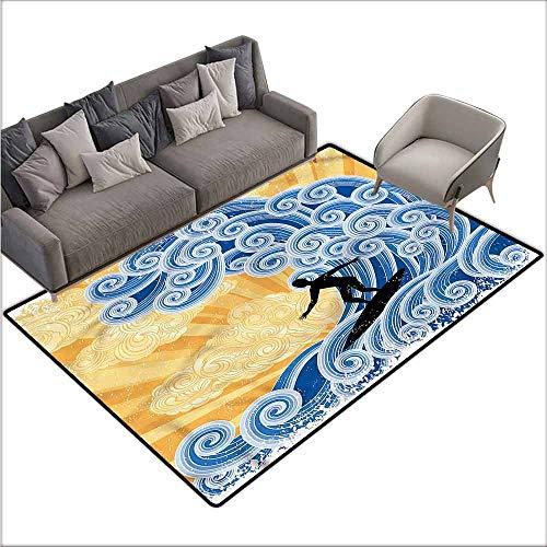 (Non-Slip Bath Hotel Mats Wave,Curly Design Swirls Grunge 80
