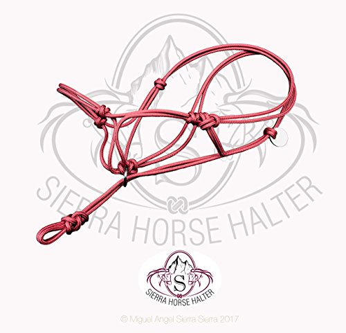 Sierra Horse Halter Poly Rope Tied Horse Training Halter - Corrects Bad Habits in All Breed of Horses - 4 Sizes and Colors - Red, Grey, Black, Brown (Medium, Red) ()