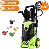 Schafter ST8 3000 PSI 1.8 GPM Pressure Washer, 1800W Power Washer Hose Reel Gun Wand Built in Soap Dispenser, 5 Nozzles