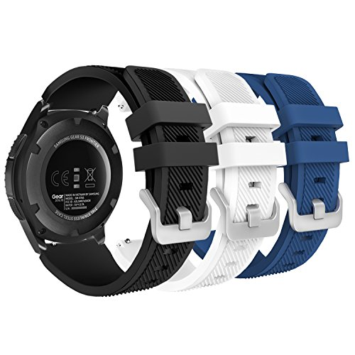 MoKo Band Gear S3 Frontier/Classic, [3-Pack] Soft Silicone Replacement Sport Strap Samsung Gear S3 Frontier / S3 Classic/Galaxy Watch 46mm / Moto 360 2nd Gen 46mm Watch, Multi Color A