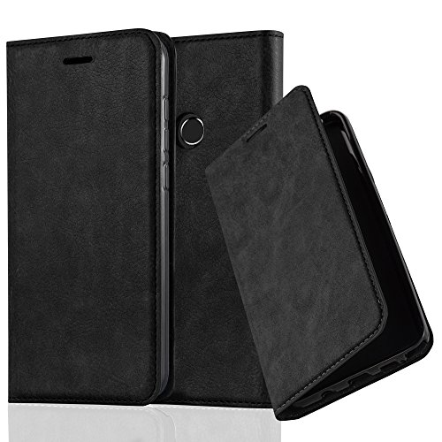 Cadorabo - Funda Book Style Cuero Sintético en Diseño Libro para >                          Huawei ASCEND P8 LITE (Modelo 2017)                          < �?Etui Case Cover Carcasa Caja Protección con Imán Invisible en NEGRO-ANTRACITA NEGRO-ANTRACITA
