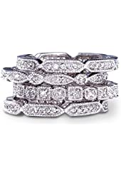 SusanB.Designs Sterling Silver Cubic Zirconia 4-Piece Stack Ring Set