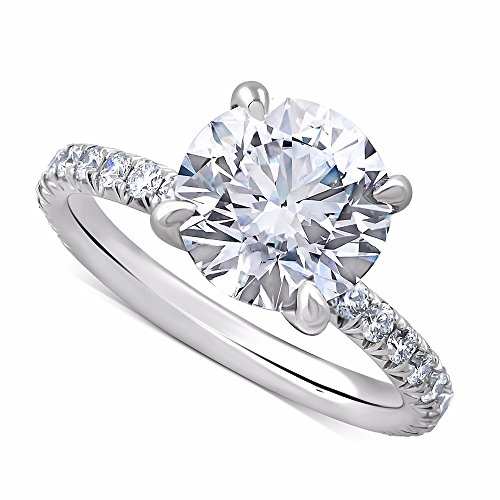 Platinum Forever One Moissanite French Cut Down Micro Pave Set Diamond Engagement Ring (Micro Mounting Pave)