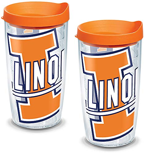 Tervis 1126303 Illinois Fighting Illini Colossal Tumbler with Wrap and Orange Lid 2 Pack 16oz, Clear