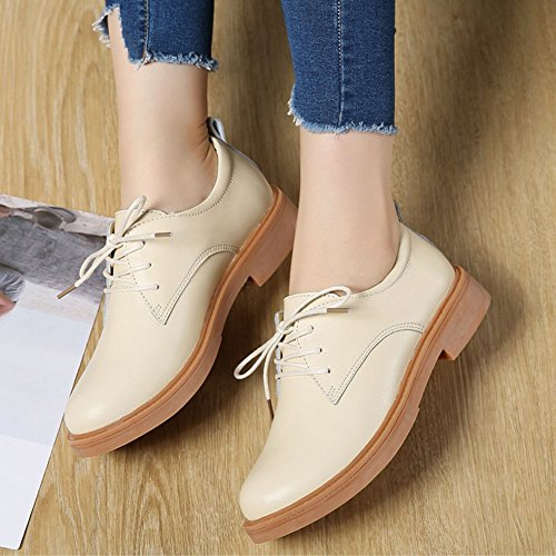 T-JULY Womens Retro Oxfords Shoes - Classic Lace-up Low Heel Round Toe Casual Shoes Beige czQTdX