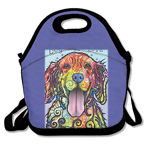 (DOG-rainbow Dog Golden Retriever Face Lunch Bag Lunch Tote)