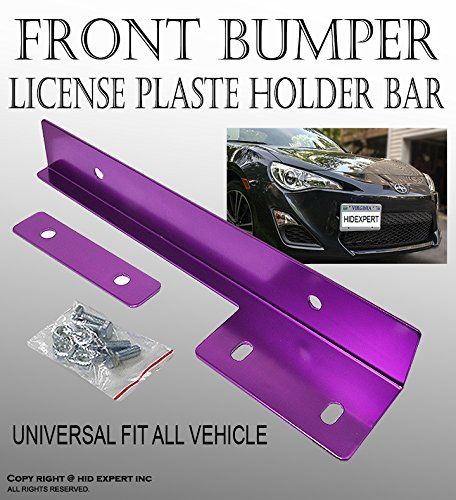 ICBEAMER Aluminum Bumper Front License Plate Mount Relocate Universal Bracket Fit All Vehicle [Color: Purple] Pack of 1