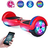 "Benedi Hoverboard Two-Wheel Self Balancing Scooter UL2272 Certified Hover Board with Bluetooth Speaker 6.5"" Flash Wheels and Top Colorful LED Lights (Red)"