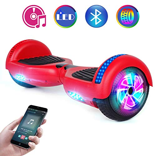 Benedi Hoverboard Two-Wheel Self Balancing Scooter UL2272 Certified Hover Board with Bluetooth Speaker 6.5' Flash Wheels and Top Colorful LED Lights (Red)