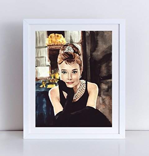 Audrey Hepburn Art Breakfast at Tiffanys Print Audrey Hepburn Dress Tiffany and Co Bridal Shower Gift Holly Golightly Art Canvas Art Print Holly Golightly Costume Watercolor - Tiffany And Co Colors