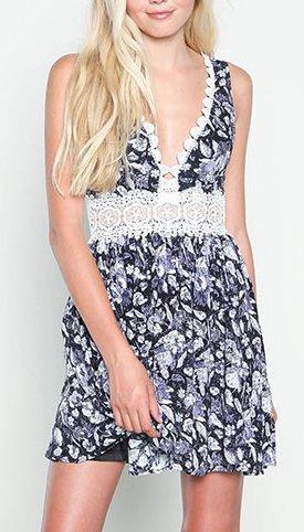 Druckkleider Damen Minikleid A-Linie Kurz Swing Ärmellos Tiefem V-Ausschnitt Spitze Stitching Geschnürt Geblümt Blumendrucken Abendkleider