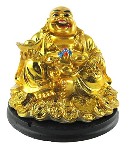 (Creativegifts Feng Shui Laughing Buddha Sitting on Gold Coin Statue,Happy Man for Good Luck, Wealth, Prosperity at Home,)