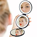 Travel Makeup Mirror Folding Portable Vanity Mirror with Lights, LED Lighted Handheld Cosmetic Compact Mirror with USB Charging, Lithium Battery Included, 1X/5X/10X Magnification (Black)