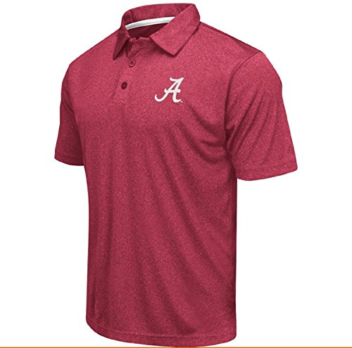 Colosseum Men's NCAA Heathered Trend-Setter Golf/Polo Shirt-Alabama Crimson Tide-Heatherd Crimson-XXL