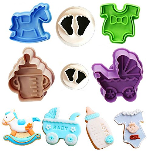 Baby Shower Theme Cookie Cutter Set,Baby Bottles,Baby Clothes,Strollers,Trojans Biscuit Pastry Mould,Cake Topper Decorating Gumpaste Fondant Mould -Set of (Baby Feet Cookie)
