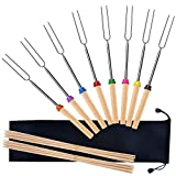 Alotpower Telescoping Marshmallow Roasting Sticks, 8 Extendable Stainless Steel Grilling Fork with Wooden Handle 32 Inch & 20 Bamboo Sticks BBQ Tool Set