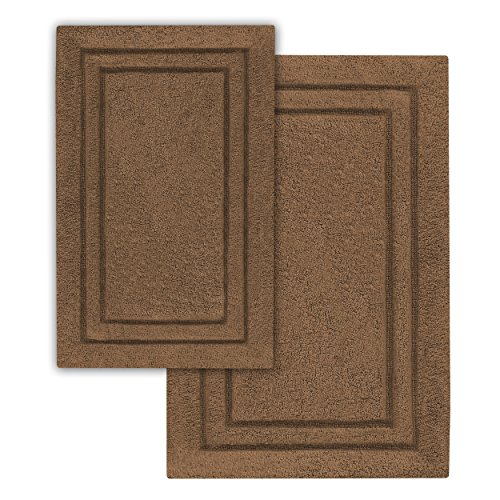 Superior 2-Pack Bath Rugs, Premium 100% Combed Cotton with Non-Slip Backing, Soft, Plush, Fast Drying and Absorbent - Chocolate, 20