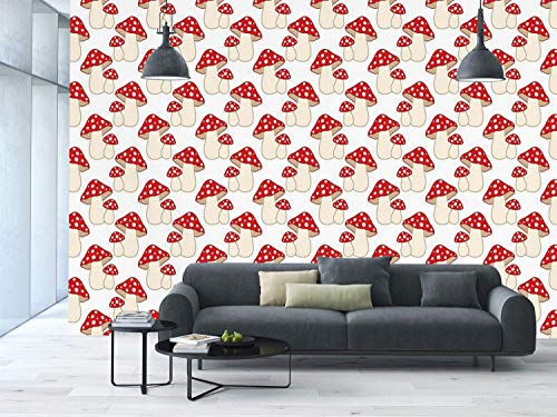 (Funky Wall Mural Sticker [ Mushroom,Cartoon Style Cute Amanita Mushrooms Dotted Forest Plants Summer Nature Kids Design Decorative,Cream Red ] Self-adhesive Vinyl Wallpaper / Removable Modern Decorati)