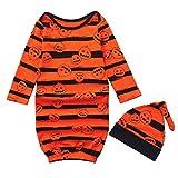 Clearance Sale! Baby Sleeping Sack Bag, Iuhan Newborn Baby Wearable Blanket for Kids with Sleeves Halloween Pumpkin Striped Print Sleeping Bag Kids Sleep Sack Stroller Wrap Hat 2pcs (6Months, Orange)