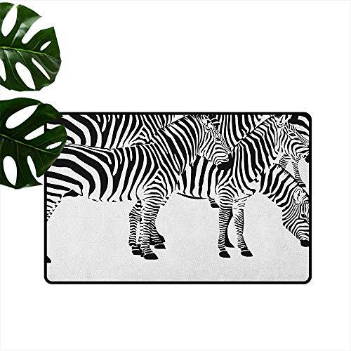 RenteriaDecor Safari,Indoor Floor Mats Zebras African Animals Skin Print with Stripes Jungle Wildlife Picture Artwork 36