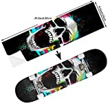 STREET FFX Fashion Funny Skateboard Cruiser Deck and Balance Board Stickers Decals Grip Tape - 9.5 x 33.5 Inches - Graffiti Anime Comic Art Skeleton Skull Colorful