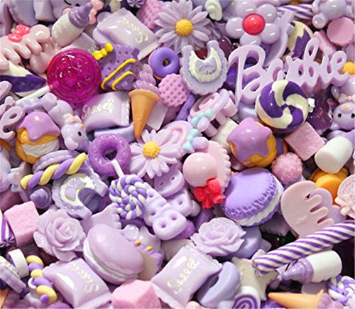 30 Pack Cute Candy Slime Beads Fruit Dessert Ice Cream Resin Charms Slices Flatback Buttons for Handcraft Accessories Scrapbooking Phone Case Decor (Lilac)