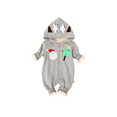 8c78b8a5e Fairy Baby Infant Baby Boy Girl Christmas Romper Winter Hood Thick ...