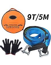 Warxin sleepkabel, voor in de auto, voor noodgevallen, 5 cm x 5 m, 17,600 lbs - 8 ton drievoudig versterkte lusuiteinde voor veiligheid, met sliphandschoenen en opbergtas, 5 m lang