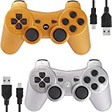 PS3 Controller Wireless for Playstation 3 Dual Shock (Gold and Silver) (Color: Gold and Silver)