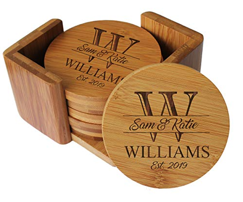Custom Engraved Bamboo Wood Coasters - Personalized Coaster Set for Drinks, Weddings, Couples with Holder - Monogrammed for Free (Round Bamboo)