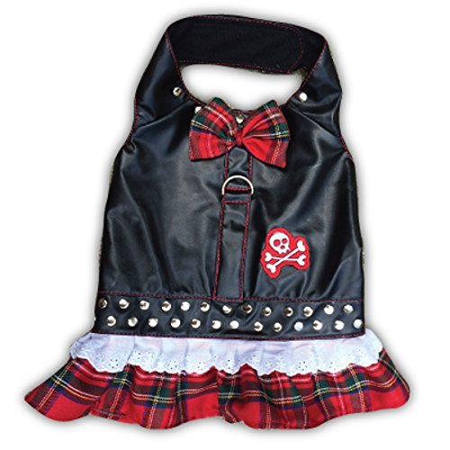 Doggles Dress Biker Plaid Harness, Red, XX-Small - Doggles Small Harness