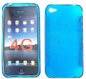 Cell Armor Design Skin Case for iPhone 4/4S - Retail Packaging - Transparent Dark Blue by Maris's Diary