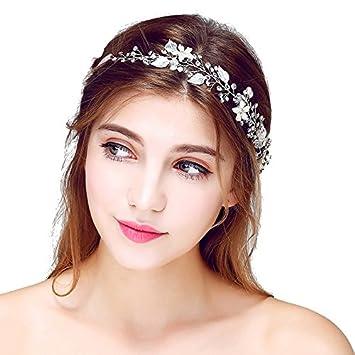 Amazon.com   Romantic Silk Flowers Bridal Headbands Beach Hair Decoration  (sliver)   Beauty d4eeb90f194