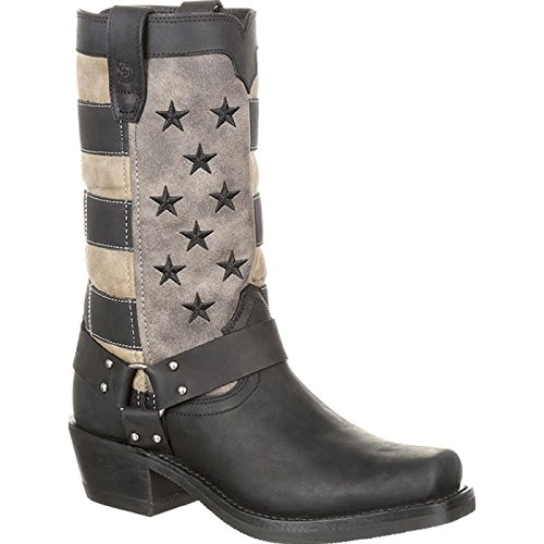 Durango Women's Flag Harness Boot Motorcycle, Black Charcoal Grey, 10 Medium US