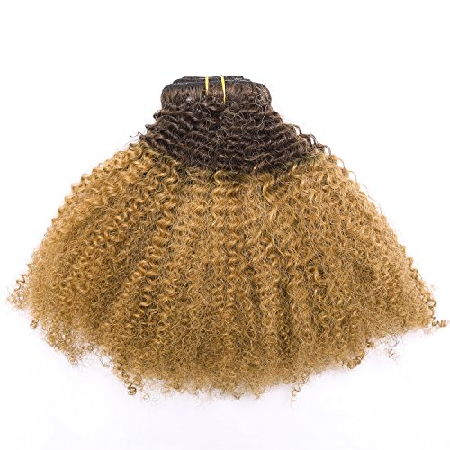 Beauty : Afro Kinky Curly Ombre Human Hair Extensions Clip in Remy #4/27 Strawberry Blonde Real 100% Brazilian 10-22 inch Balayage Hair Color Thick For Black Women (16 inch, Ombre #4/27 AC)