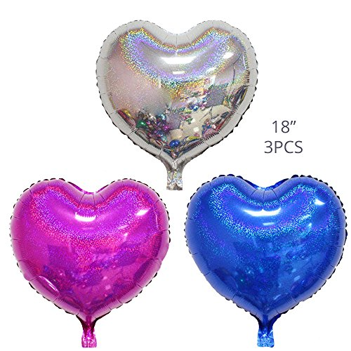 Party Balloons Decoration Set, Silver Blue and Rose Red 3 Pieces 18'' Laser Heart Aluminum Foil Balloons for Christmas Birthday Wedding Holiday Party Decoration Supplies (Foil Balloon 18' Time)