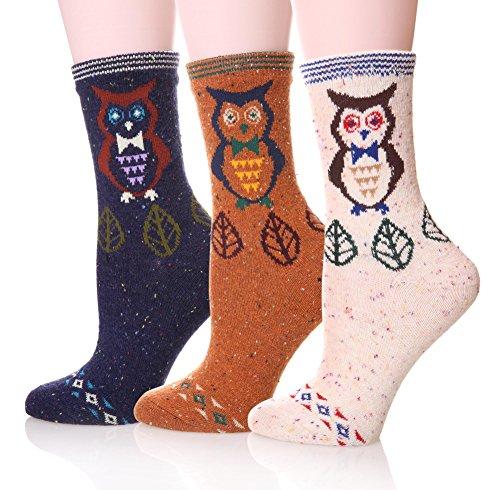 EBMORE Women's Animal Pattern Warm Socks For Winter (Owl),Free size ()
