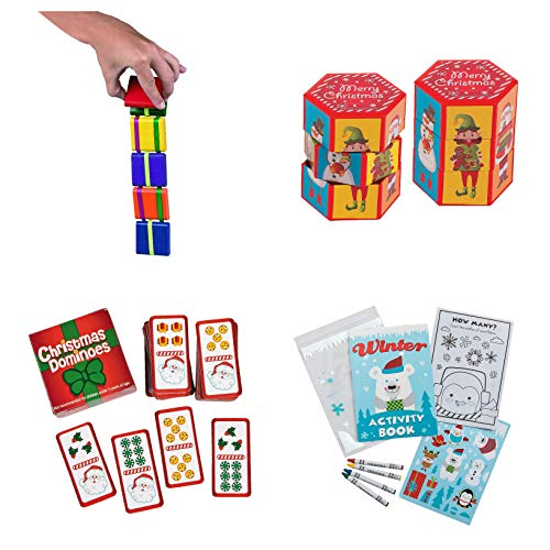 Fun Express Jacob's Ladder, Dominoes, Twisty Puzzle, Activity Set with Crayons Stocking Stuffer Bundle (4 Items)