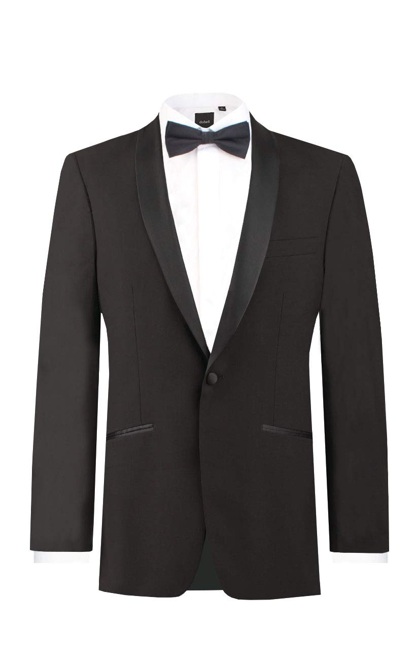 Dobell Mens Black Tuxedo Dinner Jacket Regular Fit Shawl Lapel-36R by Dobell