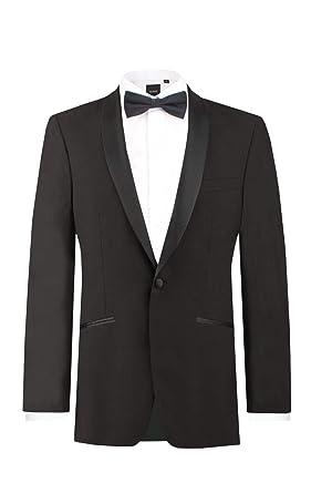 56512edfd21 Dobell Mens Black Tuxedo Dinner Jacket Regular Fit Shawl Lapel at ...