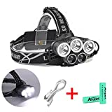 LED Headlamp Headlight Super Bright Head Light 6 Modes Head Lamp with USB Rechargeable Batteries and Waterproof Switch Light for Outdoor Hiking Camping Travel Walking Hunting