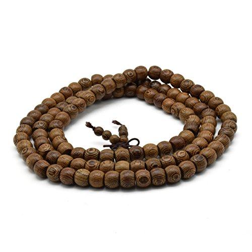 Zen Dear Unisex Natural Wenge Mala Prayer Beads Necklace Bracelet Meditation Buddhist Rosary Mala Beads (8mm X 10mm 108 Beads) ()