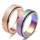 JAJAFOOK 6MM Titanium Steel Scrub Spins Rings,Fashion Spinner Ring Sand Blast Finish,Comfort Fit