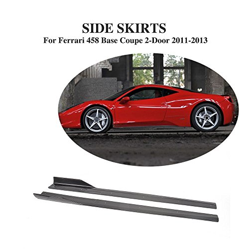 JCSPORTLINE Carbon Fiber Side Skirts Extensions for Ferrari 458 2-Door 2011-2013