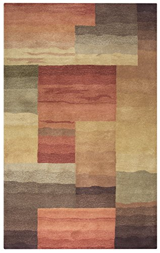 Rizzy Home Colours Collection Wool Red/Burgundy/Gray/Rust/Blue Block Area Rug 8' x 10' Block Tufted Wool Area Rug