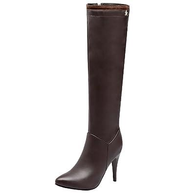 AIYOUMEI Damen Spitz Kniehohe Stiefel mit Reißverschluss und 10cm Absatz Stiletto High Heels Elegant Langschaft Stiefel 985gYqoOGF