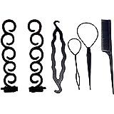 SR Enterprises 6 Pcs Braiding Tool Hair Twist Curler Maker Styling Hair Braid Accessories(Random colour)