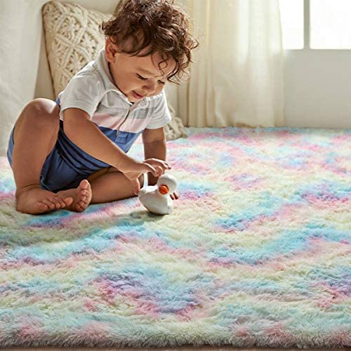 51oEjBrg6CL. AC - Junovo Soft Rainbow Area Rugs For Girls Room, Fluffy Colorful Rugs Cute Floor Carpets Shaggy Playing Mat For Kids Baby Girls Bedroom Nursery Home Decor, 4ft X 6ft